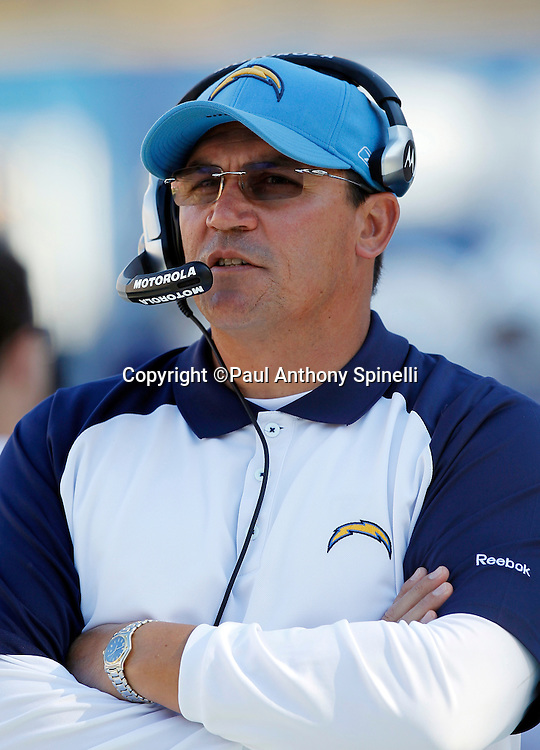 San Diego Chargers defensive coordinator Ron Rivera looks on during the NFL week 14 football game against the Kansas City Chiefs on Sunday, December 12, 2010 in San Diego, California. The Chargers won the game 31-0. (©Paul Anthony Spinelli)