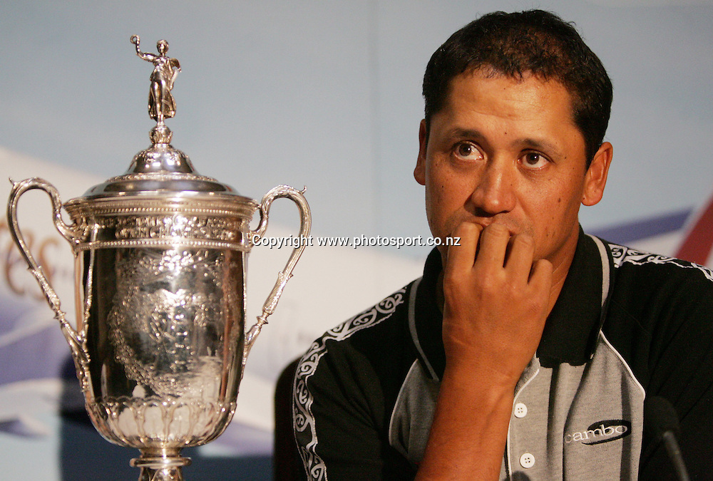 2005 US Golf Open Champion Michael Campbell listens to questions after arriving in Auckland this afternoon at Auckland International Airport, Auckland, New Zealand on Wednesday 27 July, 2005. Photo: Hannah Johnston/PHOTOSPORT<br /><br /><br /><br />130742