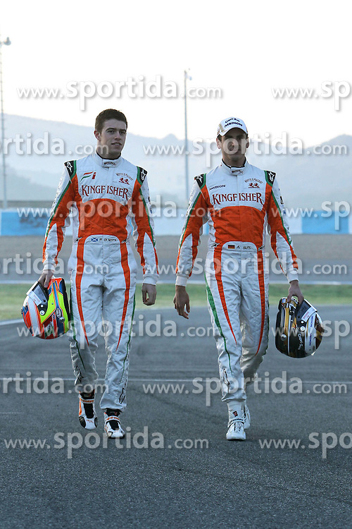 11.02.2011, Street Circuit. Jerez, ESP, Formel 1 Test 2 Valencia 2011,  im Bild Paul di Resta (GBR), Force India - Adrian Sutil (GER), Force India Formula One Team EXPA Pictures © 2011, PhotoCredit: EXPA/ nph/   poleposition.at        +++++ only AUT and SLO