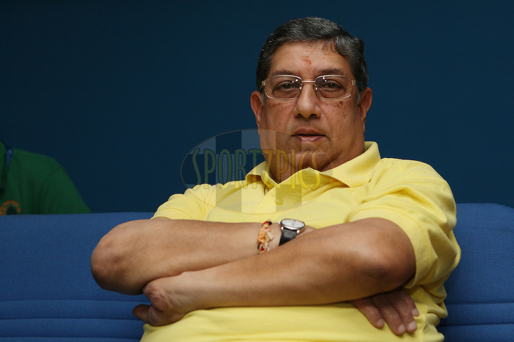 Owner of CSK N Srinivasan during match 41 of the the Indian Premier League ( IPL) 2012  between The Chennai Superkings and the Kolkata Knight Riders held at the M. A. Chidambaram Stadium, Chennai on the 30th April 2012..Photo by Jacques Rossouw/IPL/SPORTZPICS