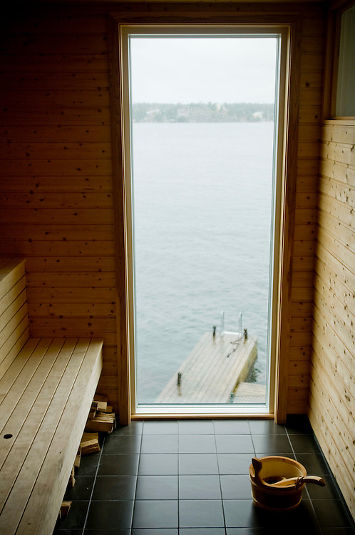 View of the sea from the sauna in the summer home of Katharina Mellvé on the  island Arkö outside of Arkösund, Sweden...Photographer: Chris Maluszynski /MOMENT