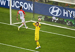 MOSCOW, RUSSIA - Sunday, July 15, 2018: France's goalkeeper Hugo Lloris looks dejected as his error led to Croatia's Mario Mandžukić scoring the second goal, making the score 4-2, during the FIFA World Cup Russia 2018 Final match between France and Croatia at the Luzhniki Stadium. (Pic by David Rawcliffe/Propaganda)