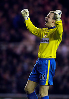 Photo: Jed Wee.<br /> Middlesbrough v Charlton Athletic. The FA Cup. 12/04/2006.<br /> <br /> Charlton goalkeeper Thomas Myhre tries to get the fans going.