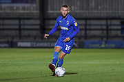 AFC Wimbledon attacker Shane McLoughlin (19) passing the ball during the EFL Trophy (Leasing.com) match between AFC Wimbledon and U23 Brighton and Hove Albion at the Cherry Red Records Stadium, Kingston, England on 3 September 2019.