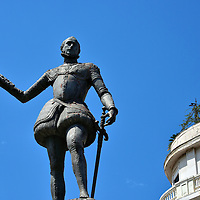 Don John of Austria Statue in Messina, Italy<br /> The highlight of the short life of John of Austria – he died at 31 in 1578 – was when he was the commander of the Holy League fleet of Christians.  They defeated the Ottoman Empire during the naval Battle of Lepanto in 1571. In appreciation, this bronze statue was created two years later by sculptor Andrea Calamech. The monument is in Catalani Square.