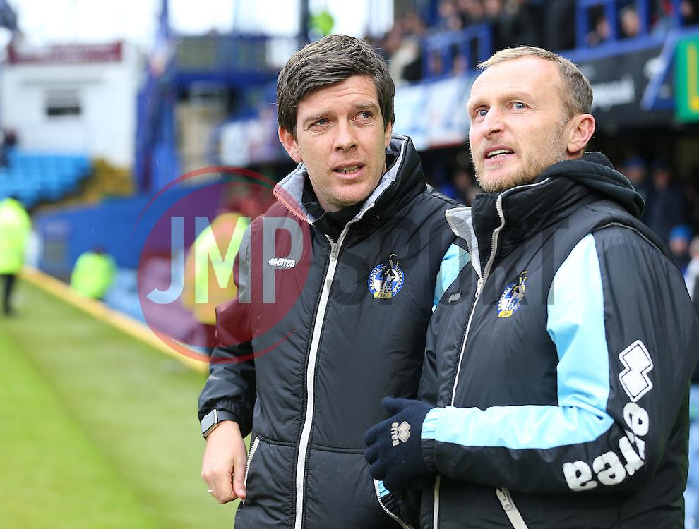 Bristol Rovers Manager, Darrell Clarke ( L ) - Mandatory byline: Paul Terry/JMP - 13/02/2016 - FOOTBALL - Fratton Park - Portsmouth, England - Portsmouth v Bristol Rovers - Sky Bet League Two