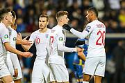 Goal England forward Marcus Rashford congratulates England forward Mason Mount on scoring 0-4 during the UEFA European 2020 Qualifier match between Kosovo and England at the Fadil Vokrri Stadium, Pristina, Kosovo on 17 November 2019.