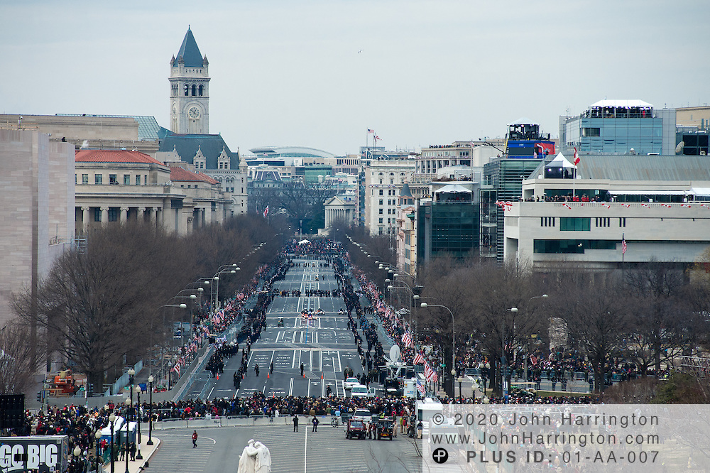 The view looking Northwest along Pennsylvania Avenue during the 57th Presidential Inauguration of President Barack Obama at the U.S. Capitol Building in Washington, DC January 21, 2013.