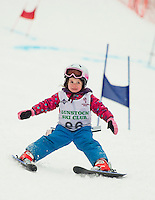 Addison Baron takes on the challenge of her first ski race during the Meister Cup with the Gunstock Ski Club on Wednesday afternoon.  (Karen Bobotas/for the Laconia Daily Sun)