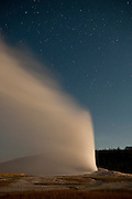 Old Faithful Geyser after dark at Yellowstone National Park, WY, on Sept. 2, 2012.  (Photo by Aaron Schmidt)