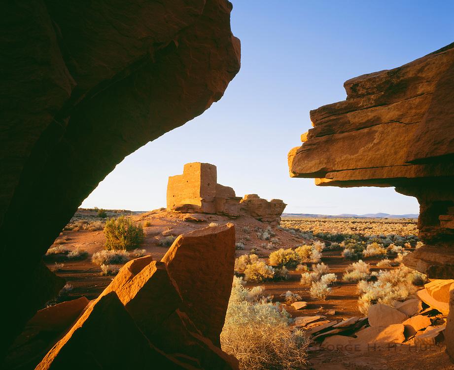 0121-1034 ~ Copyright:  George H. H. Huey ~ Wukoki Ruin at sunrise.  Sinagua culture.  Occupied A.D. 1100's.  Wupatki National Monument, Arizona.