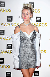 Zara Larsson attending the BBC Music Awards at the Royal Victoria Dock, London.