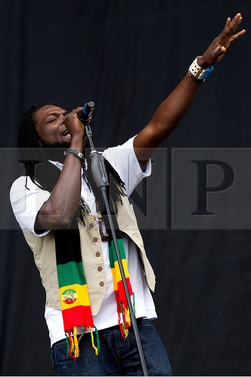 © licensed to London News Pictures . 30/06/2012 . Manchester , UK . The Wailers perform on stage at Heaton Park as warm up for the Stone Roses , who are on their comeback tour . Photo credit : Joel Goodman/LNP