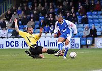 Photo: Tony Oudot/Richard Lane Photography. Gillingham v Burton Albion. FA Cup 2nd Round. 28/11/2009. <br /> Simeon Jackson of Gillingham is tackled by Burtons Ryan Austin