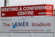 General view of the Lamex stadium, home of Stevenage Football Club, before the Sky Bet League 1 match at the Lamex Stadium, Stevenage<br /> Picture by David Horn/Focus Images Ltd +44 7545 970036<br /> 08/03/2014