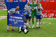 Tranmere Rovers pose for photos after winning the final after the EFL Sky Bet League 2 Play Off Final match between Newport County and Tranmere Rovers at Wembley Stadium, London, England on 25 May 2019.