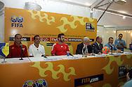 Footbal-FIFA Beach Soccer World Cup 2006 - Press Conference at Media Center took part Joaquin Alonso, Alexandre Soares, Eric Cantona, Ricardo Teixeira, Luis Felipe Tavares and Joan Cusco - Rio de Janeiro, Brazil - 01/11/2006.<br />Mandatory Credit: FIFA/Ricardo Ayres
