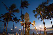 Duke Kahanamoku Statue, Twilight, Waikiki, Honolulu, Oahu, Hawaii