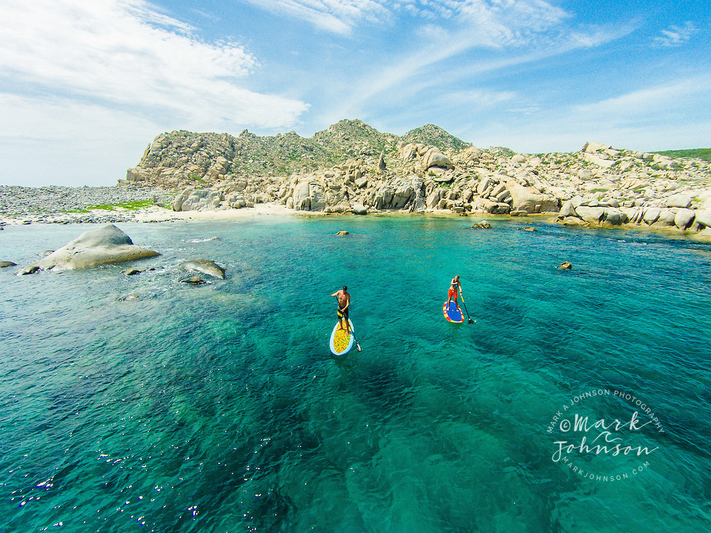 Couple Stand-Up Paddle Boarding at Cabo Pulmo, Gulf of California, Baja California Sur, Mexico