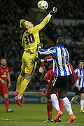 Jason Steele (Blackburn Rovers) misses his punch to clear the ball during the Sky Bet Championship match between Sheffield Wednesday and Blackburn Rovers at Hillsborough, Sheffield, England on 5 April 2016. Photo by Mark P Doherty.