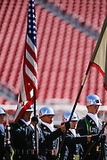 The Manteca NJROTC Color Guard performs during the Star Spangled Banner before Manteca takes on Oakdale during Friday Night Lights at Levi's Stadium in Santa Clara, California, on October 11, 2014. (Stan Olszewski/ Special to The Record)