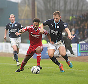 Aberdeen&rsquo;s Shaleum Logan and Dundee's Greg Stewart tussle for the ball -  Dundee v Aberdeen, William Hill Scottish FA Cup 4th round at Dens Park<br /> <br />  - &copy; David Young - www.davidyoungphoto.co.uk - email: davidyoungphoto@gmail.com