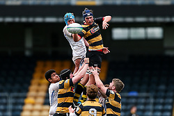 Harry Sayer of Wasps U18 wins a lineout - Rogan Thomson/JMP - 16/02/2017 - RUGBY UNION - Sixways Stadium - Worcester, England - Wasps U18 v Exeter Chiefs U18 - Premiership Rugby Under 18 Academy Finals Day 3rd Place Play-Off.