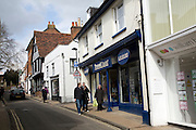 People and shops Church Street Woodbridge Suffolk