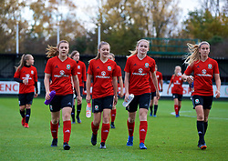 NEWPORT, WALES - Tuesday, November 6, 2018: Wales academy players L-R: Caitlin Williams, Cerys Jones, Lucy Attwood and Josie Longhurst during a training session at Dragon Park ahead of two games against Portugal. (Pic by Paul Greenwood/Propaganda)