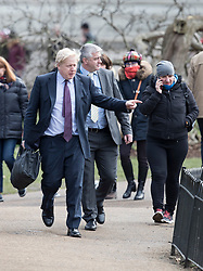 © Licensed to London News Pictures. 05/03/2018. London, UK. Foreign Secretary Boris Johnson walks in St James's Park. Later Prime Minister Theresa May make a statement in Parliament about the UK/EU future economic partnership. Photo credit: Peter Macdiarmid/LNP