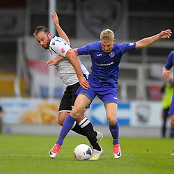 TELFORD COPYRIGHT MIKE SHERIDAN Chris Lait of Telford battles for the ball with Mike Symons of Hereford during the National League North fixture between Hereford FC and AFC Telford United at Edgar Street, Hereford on Tuesday, August 13, 2019<br /> <br /> Picture credit: Mike Sheridan<br /> <br /> MS201920-009