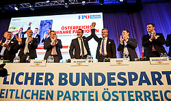 04.03.2017, Messe, Klagenfurt, AUT, FPÖ, 32. Ordentlicher Bundesparteitag, im Bild v.l.n.r. Mario Kunasek, Bundesparteiobmann Heinz Christian Strache, Norbert Hofer, Manfred Haimbuchner und Johann Gudenus // at the 32nd Ordinary Party Convention of the Freiheitliche Partei Oesterreich (FPÖ) in Klagenfurt, Austria on 2017/03/04. EXPA Pictures © 2017, PhotoCredit: EXPA/ Wolgang Jannach