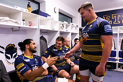 Nick Schonert, Michael Fatialofa and Gareth Milasinovich of Worcester Warriors celebrate after beating Gloucester Rugby and securing Premiership Rugby status - Mandatory by-line: Robbie Stephenson/JMP - 28/04/2019 - RUGBY - Sixways Stadium - Worcester, England - Worcester Warriors v Gloucester Rugby - Gallagher Premiership Rugby