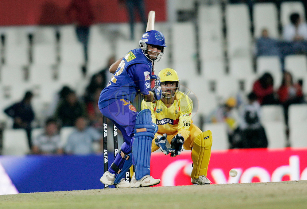 CENTURION, SOUTH AFRICA - 30 April 2009.  during the  IPL Season 2 match between the Rajasthan Royals and the Chennai Superkings held at  in Centurion, South Africa..Rajasthan Royals player Ravindra Jadeja in action