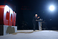 12 JAN 2003, BRAUNSCHWEIG/GERMANY:<br /> Edmund Stoiber, CSU, Ministerpraesident Bayern, waehrend seiner Rede, Wahlkampfauftakt der CDU Niedersachsen zur Landtagswahl, Volkswagenhalle<br /> IMAGE: 20030112-01-025<br /> KEYWORDS: Ministerpräsident, speech, Logo