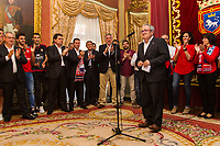 Osasuna's president, Luis Sabalza and Joseba Asiron, mayor of Pamplona during the celebration for promotion to La Liga BBVA on the city hall of Pamplona . 19,06,2016. (ALTERPHOTOS/Rodrigo Jimenez)