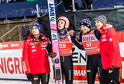 13.01.2019, Stadio del Salto, Predazzo, ITA, FIS Weltcup Skisprung, Val di Fiemme, Herren, 2. Wertungsdurchgang, im Bild Maciej Kot (POL), Dawid Kubacki (POL), Kamil Stoch (POL), Piotr Zyla (POL) // Maciej Kot of Poland Dawid Kubacki of Poland Kamil Stoch of Poland Piotr Zyla of Poland during his 2nd Competition Jump the of FIS Ski Jumping World Cup at the Stadio del Salto in Predazzo, Italy on 2019/01/13. EXPA Pictures © 2019, PhotoCredit: EXPA/ JFK