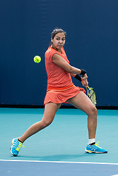 March 18, 2019 - Miami Gardens, FL, U.S. - MIAMI GARDENS, FL - MARCH 18: Zarina Diyas (KAZ) in action during the Miami Open on March 18, 2019 at Hard Rock Stadium in Miami Gardens, FL. (Photo by Aaron Gilbert/Icon Sportswire) (Credit Image: © Aaron Gilbert/Icon SMI via ZUMA Press)