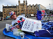 Royal enthusiast Terry Hutt camps out in front of Westminster Abby in preparation for the royal wedding, in London, April 26, 2011.  The Royal Wedding of Prince William and Kate Middleton will take place on April 29th, 2011.  UPI/Kevin Dietsch