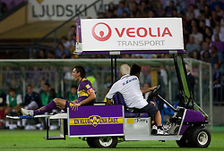Zoran Pavlovic of Maribor injured at Third Round of Champions League qualifications football match between NK Maribor and FC Zurich,  on August 05, 2009, in Ljudski vrt , Maribor, Slovenia. Zurich won 3:0 and qualified to next Round. (Photo by Vid Ponikvar / Sportida)