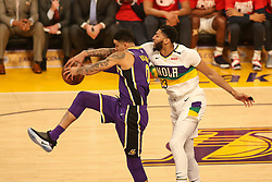 February 27, 2019 - Los Angeles, CA, U.S. - LOS ANGELES, CA - FEBRUARY 27: New Orleans Pelicans Forward Anthony Davis (23) battling Los Angeles Lakers Forward Kyle Kuzma (0) for loose ball during the first half of the New Orleans Pelicans versus Los Angeles Lakers game on February 27, 2019, at Staples Center in Los Angeles, CA. (Photo by Icon Sportswire) (Credit Image: © Icon Sportswire/Icon SMI via ZUMA Press)