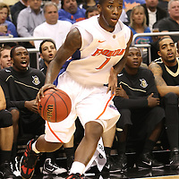 Florida Gators forward guard Kenny Boynton (1) plays against the University of Central Florida Knights  at the Amway Center on December 1, 2010 in Orlando, Florida. Central Florida won the game 57-54 for their first ever victory against a nationally ranked team. (AP Photo/Alex Menendez)