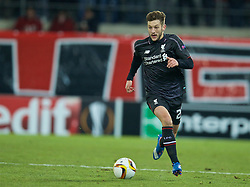 LIVERPOOL, ENGLAND - Thursday, December 10, 2015: Liverpool's Adam Lallana in action against FC Sion during the UEFA Europa League Group Stage Group B match at Stade de Tourbillon. (Pic by David Rawcliffe/Propaganda)