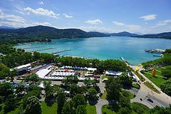 25.06.2015, Metnitzstrand, Klagenfurt am Wörthersee, AUT, Ironman Austria 2015, Vorberichte, im Bild Luftbild vom Wörthersee, Übersicht auf das Startgelände zum Ironman // Airpicture, overview of the lake Woerther lake and the start area during preperation the 2015 Ironman Austria at the Metnitzstrand, Klagenfurt, Austria on 2015/06/25. EXPA Pictures © 2015, PhotoCredit: EXPA/ Gert Steinthaler