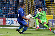 AFC Wimbledon Kyron Stabana (14) shoots on goal during the Pre-Season Friendly match between AFC Wimbledon and Bristol City at the Cherry Red Records Stadium, Kingston, England on 9 July 2019.