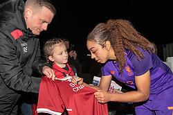 Jess Clarke of Liverpool Women signs a fan's shirt - Mandatory by-line: Paul Knight/JMP - 17/11/2018 - FOOTBALL - Stoke Gifford Stadium - Bristol, England - Bristol City Women v Liverpool Women - FA Women's Super League 1