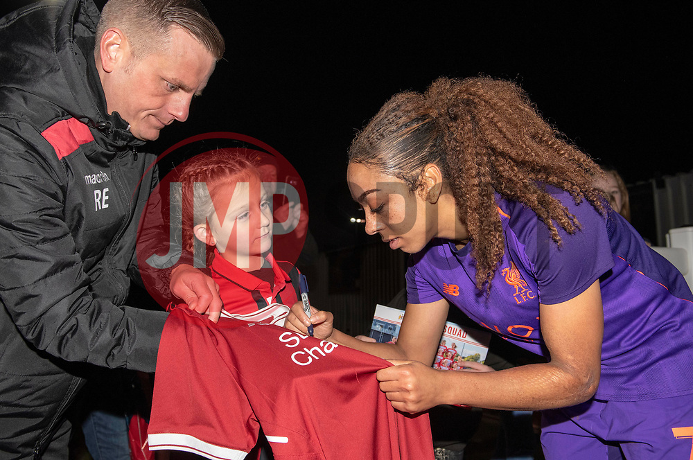 Jess Clarke of Liverpool Women signs a fan's shirt - Mandatory by-line: Paul Knight/JMP - 17/11/2018 - FOOTBALL - Stoke Gifford Stadium - Bristol, England - Bristol City Women v Liverpool Women - FA Women's Super League 1