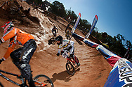 Riders on the berm during the UCI BMX Supercross World Cup, Pietermaritzburg, 2011