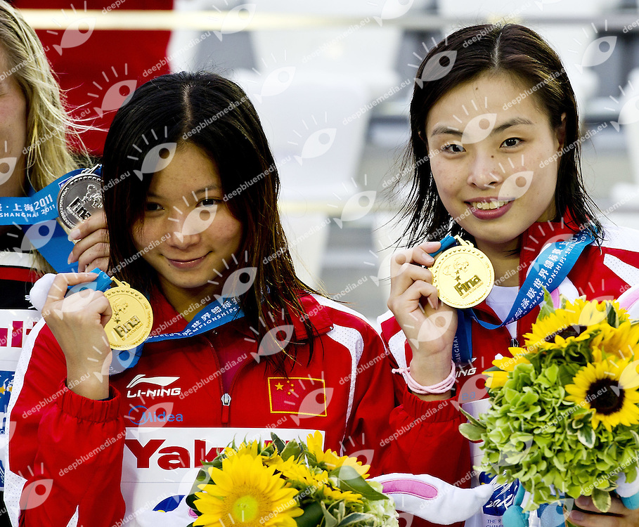 Shanghai , China (CHN) 16-31 July 2011<br /> XIV FINA Swimming World Championships<br /> day 01 <br /> Women 3m Springboard Synchro<br /> Final<br /> China CHN Gold Medal<br /> Photo G.Scala/Deepbluemedia.eu
