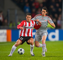 EINDHOVEN, THE NETHERLANDS - Tuesday, December 9, 2008: Liverpool's Alvaro Arbeloa and PSV Eindhoven's Nordin Amrabat during the final UEFA Champions League Group D match at the Philips Stadium. (Photo by David Rawcliffe/Propaganda)